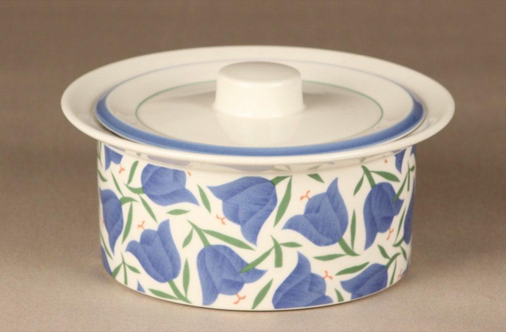 Arabia Balladi bowl, designer Heikki Orvola, with lid, silk screening