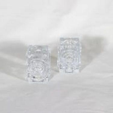 Riihimäen lasi Rengas kynttilänjalat, kirkas, 2 kpl, suunnittelija Tamara Aladin,