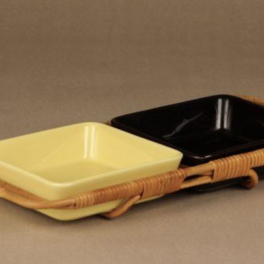 Arabia Kilta kulhot, musta, keltainen, 2 kpl, suunnittelija , rottinkikahva