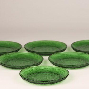 Nuutajärvi Kastehelmi lautaset, vihreä, 6 kpl, suunnittelija Oiva Toikka,