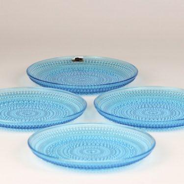 Nuutajärvi Kastehelmi lautaset, turkoosi, 4 kpl, suunnittelija Oiva Toikka,