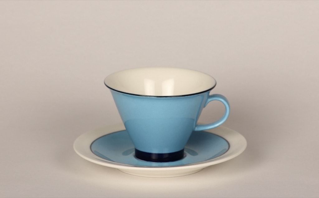Arabia Harlekin Turkos coffee cup, turquoise, Inkeri Leivo