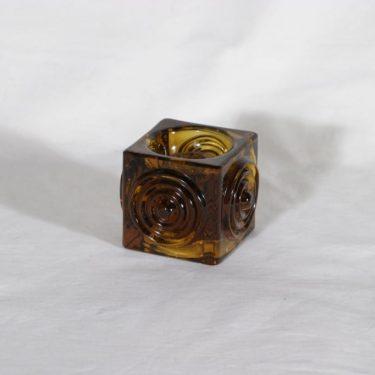 Riihimäen lasi Rengas kynttilänjalka, ruskea, suunnittelija Tamara Aladin,