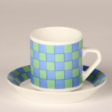 Arabia Tammi coffee cup, blue and green, Esteri Tomula