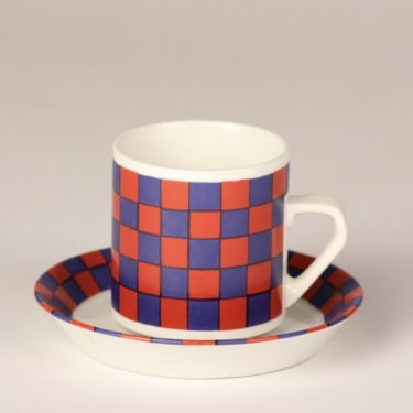 Arabia Tammi coffee cup, blue and red, Esteri Tomula