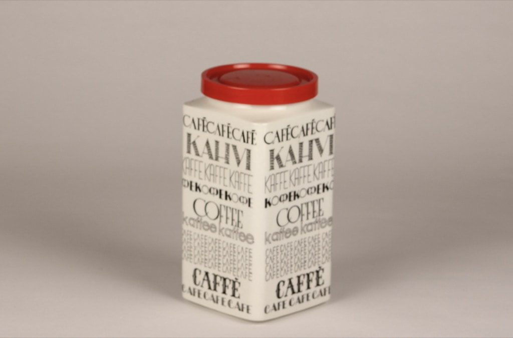Arabia Kahvi coffee jar, black and white, designer Esteri Tomula, silk screening, text decoration