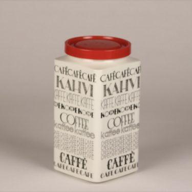 Arabia Kahvi kahvipurkki, mustavalkoinen, suunnittelija Esteri Tomula, serikuva, tekstikoriste