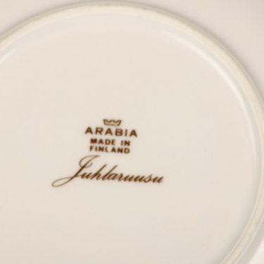Arabia Juhlaruusu coffee cup, saucer and plate, Raija Uosikkinen, 2