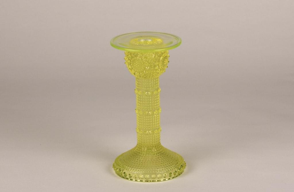 Riihimäen lasi Grapponia candlestick, yellow, designer Nanny Still