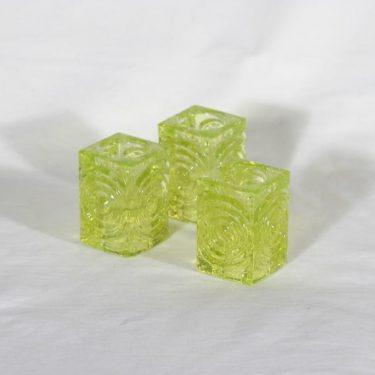 Riihimäen lasi Rengas kynttilänjalat, keltainen, 3 kpl, suunnittelija Tamara Aladin,