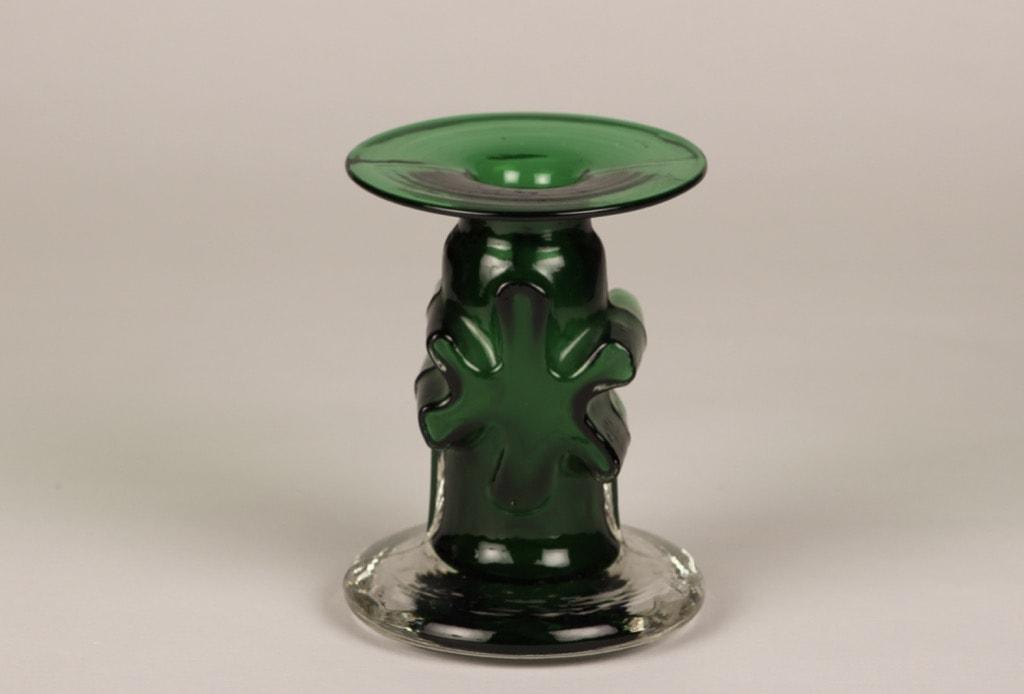 Riihimäen lasi Kasperi candlestick, green, designer Erkkitapio Siiroinen, signed