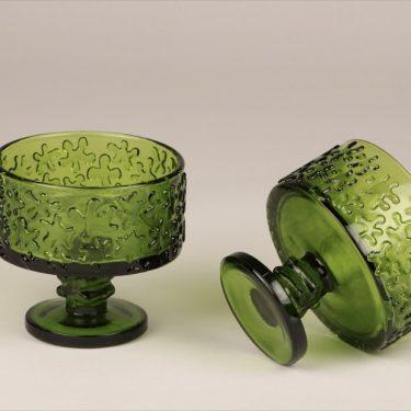 Riihimäen lasi Kasperi serving bowl, green, 2 pcs, designer Erkkitapio Siiroinen, on foot