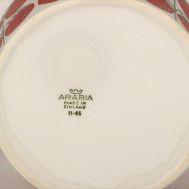 Arabia Pomona Mansikka purnukka, punainen, suunnittelija Raija Uosikkinen, serikuva, retro kuva 2
