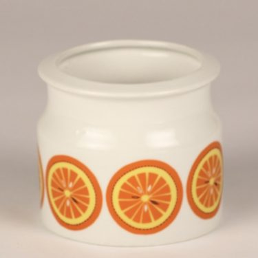 Arabia Pomona Appelsiini purnukka, suunnittelija Raija Uosikkinen, serikuva, retro
