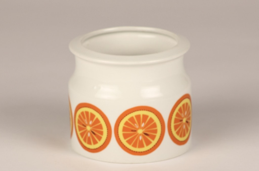 Arabia Pomona Appelsiini jar, designer Raija Uosikkinen, silk screening, retro