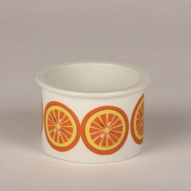 Arabia Pomona orange jar, designer Raija Uosikkinen, silk screening, retro
