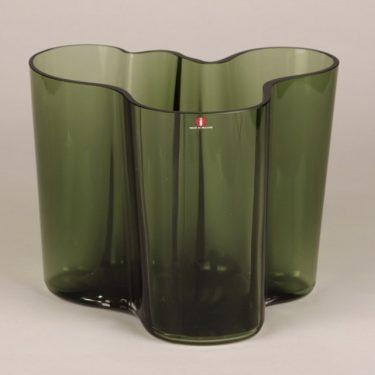 Iittala Savoy maljakko, vihreä, suunnittelija Alvar Aalto, signeerattu, numeroitu