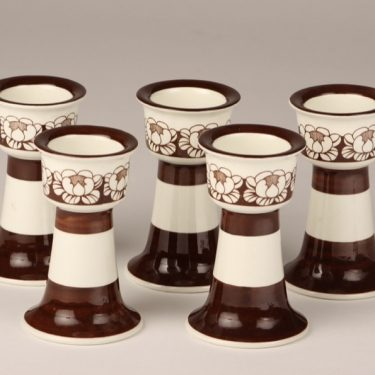 Arabia Katrilli egg cups, brown, 5 pcs, silk screening