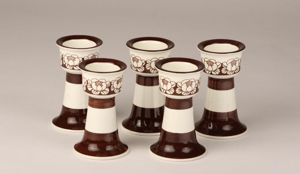 Arabia Katrilli egg cups, brown, 5 pcs, silk screening
