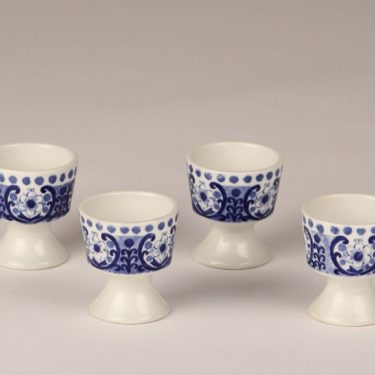 Arabia Ali egg cups, blue, 4 pcs, designer Raija Uosikkinen, silk screening