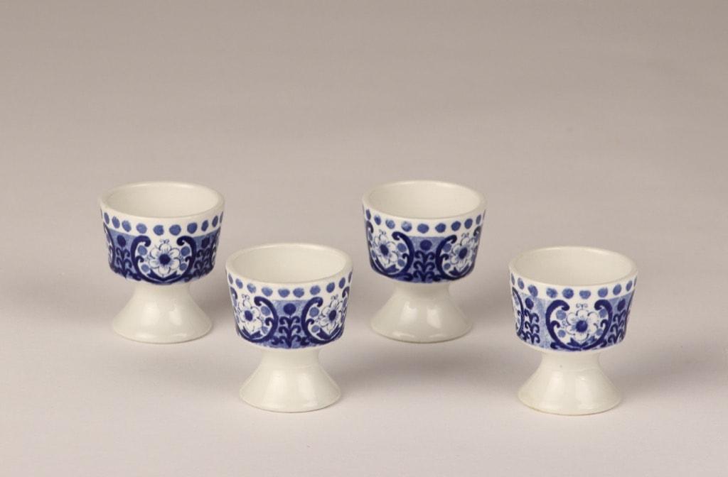 Arabia Ali egg cups, blue, 4 pcs, designer Raija Uosikkinen, silk screening