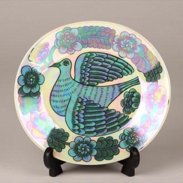 Arabia BK decorative plate, blue, designer Birger Kaiipiainen, small, luster, signed