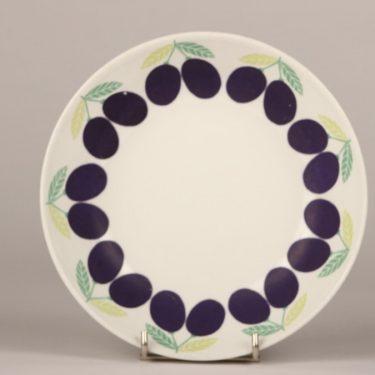 Arabia Pomona Luumu plate, designer Raija Uosikkinen, silk screening, deep