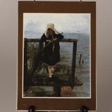 Arabia Onkiva tyttö wall plate, designer Helene Schjerfbeck, silk screening, numbered