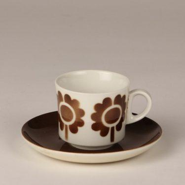 Arabia Miranda kahvikuppi, ruskea, suunnittelija , puhalluskoriste, retro