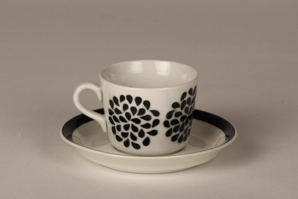 Arabia AA coffee cup, blown decoration, black, retro