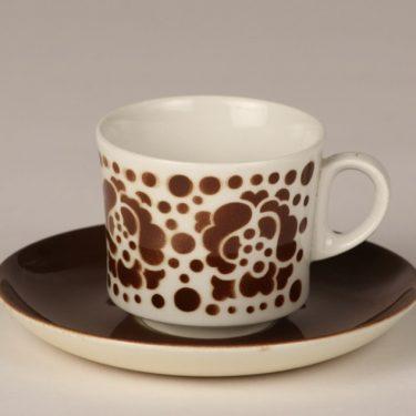 Arabia BR coffee cup, blown decoration, brown, retro