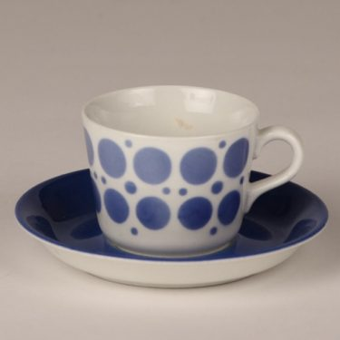 Arabia AA coffee cup, blown decoration, blue, retro