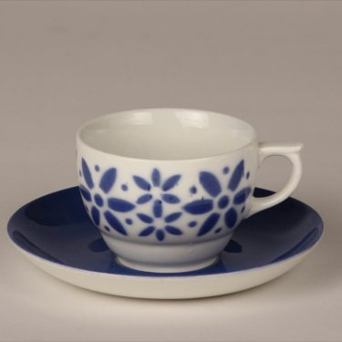 Arabia Armi coffee cup, blown decoration, blue, retro