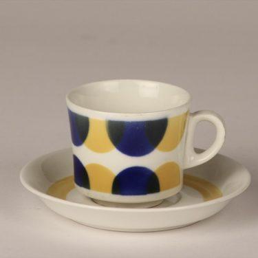Arabia BR kahvikuppi, sinikeltainen, suunnittelija , puhalluskoriste, retro