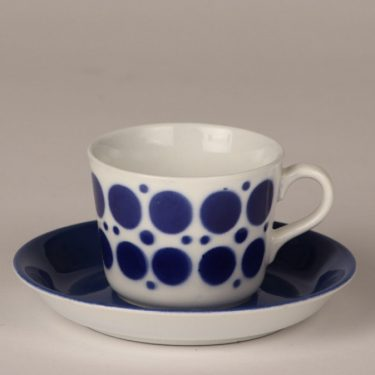 Arabia AA coffee cup, blown decoration, blue, retro