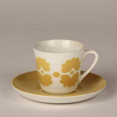 Arabia OT2 kahvikuppi, keltainen, suunnittelija , puhalluskoriste, retro