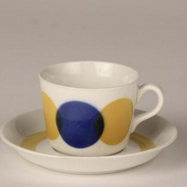Arabia AA kahvikuppi, sinikeltainen, suunnittelija , puhalluskoriste, retro