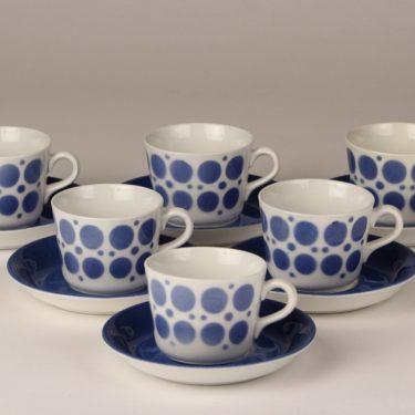 Arabia AA kahvikupit, ruskea, 6 kpl, suunnittelija , puhalluskoriste, retro