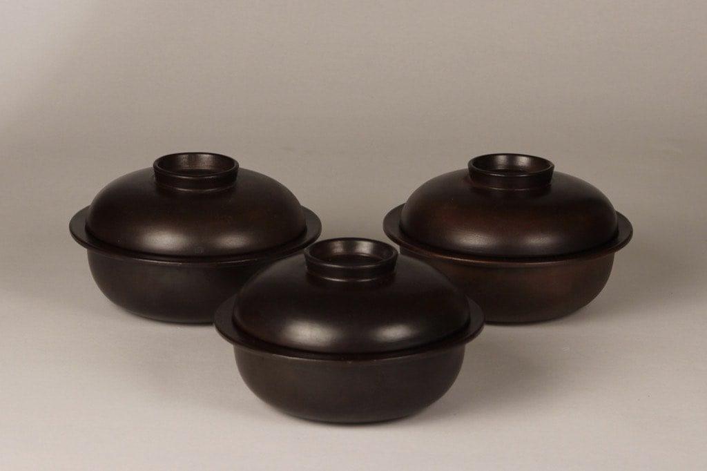 arabia Liekki small pot, brown, 3 pcs, designer Ulla Procope