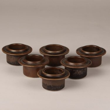 Arabia Ruska egg cups, brown, 6 pcs, designer Ulla Procope, glazed