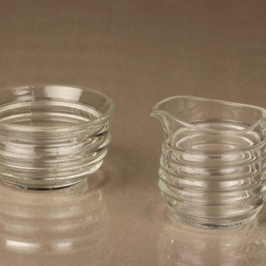 Iittala sokerikko ja kermakko, kirkas, suunnittelija Aino Aalto,