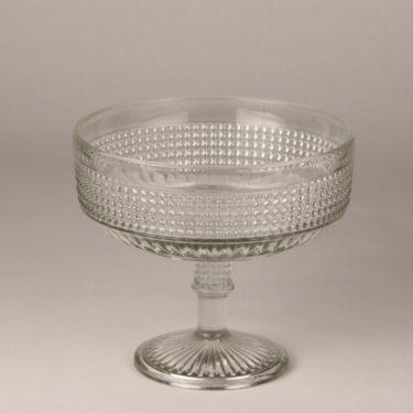 Riihimäen lasi Barokki bowl, clear, designer Erkkitapio Siiroinen, on foot