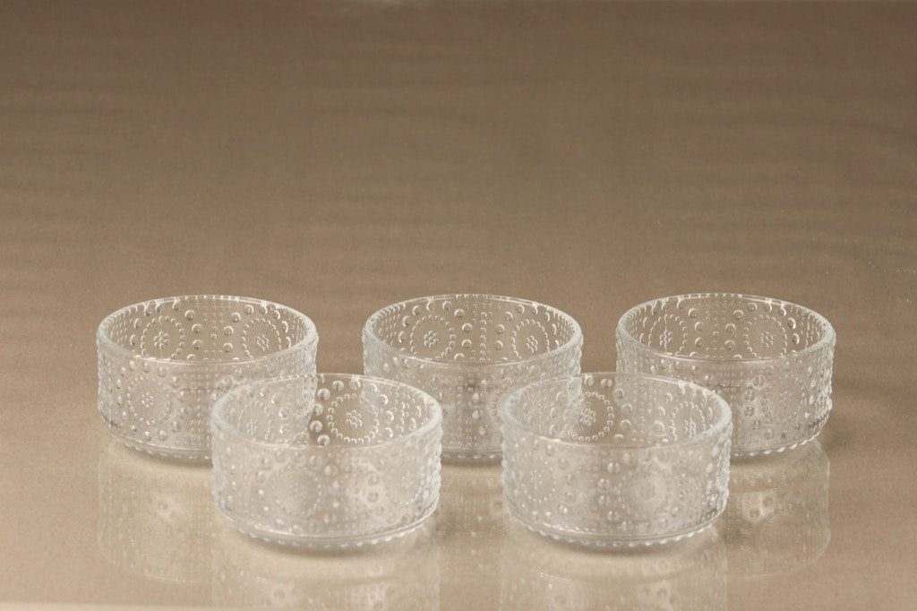 Riihimäen lasi Grapponia jälkiruokakulhot, kirkas, 5 kpl, suunnittelija Nanny Still,