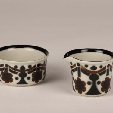 Arabia Riikka sugar bowl and creamer, brown and black, designer Anja Jaatinen-Winqvist, retro
