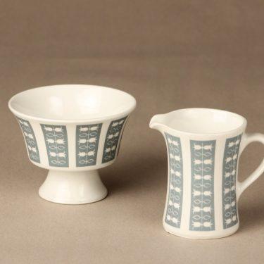Arabia Hilppa sugar bowl and creamer, gray, Esteri Tomula