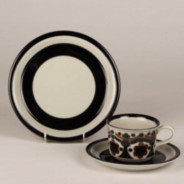 Arabia Riikka coffee cups, black and brown, designer Anja Jaatinen-Winqvist