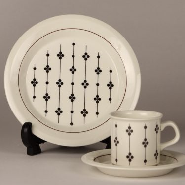 Arabia Kartano coffee cup, black and white, Esteri Tomula