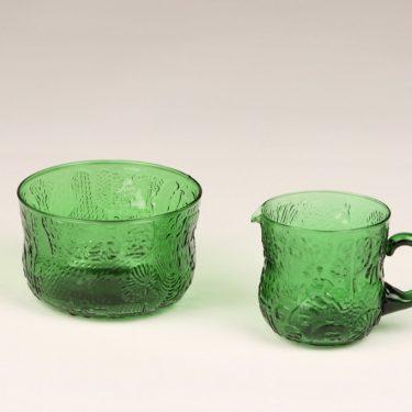 Nuutajärvi Fauna sugar bowl and creamer, green, Oiva Toikka