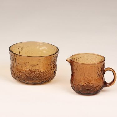 Nuutajärvi Fauna sugar bowl and creamer, brown, Oiva Toikka