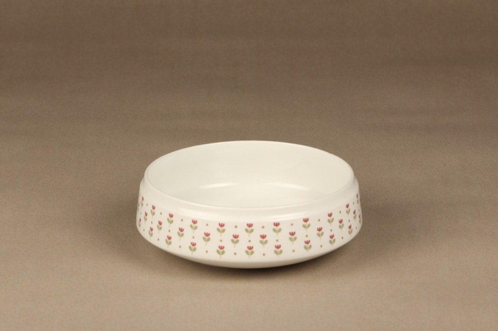 Arabia Miniflora kulho, valkoinen, suunnittelija Esteri Tomula, serikuva, kukka-aihe